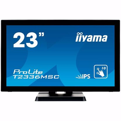 "Fotografija izdelka IIYAMA ProLite T2336MSC-B2 23"" 10 point touch monitor with edge-to-edge glass and IPS panel Analog signal input  VGA x1  Digital signal input  DVI x1HDMI x1  Audio output  Speakers 2 x 2W  USB HUB  x4 (v.3.0)"
