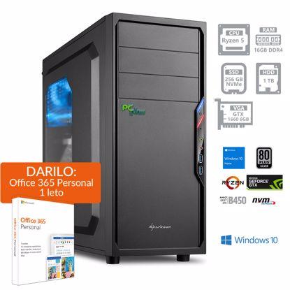 Fotografija izdelka PCPLUS Gamer AMD Ryzen 5 3600 16GB 256GB NVMe SSD + 1TB HDD GTX1660 6GB Windows 10 Home + darilo: 1 leto Office 365 Personal