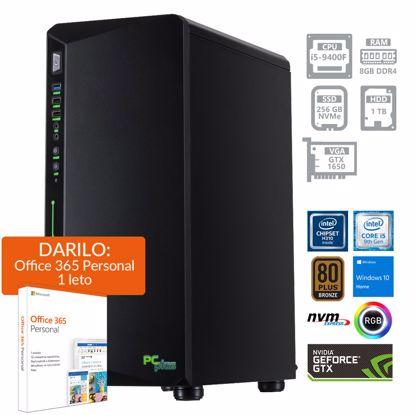 Fotografija izdelka PCPLUS Gamer i5-9400F 8GB 256GB NVMe SSD 1TB HDD GeForce GTX 1650 4GB Windows 10 Home + darilo: 1 leto Office 365 Personal RGB gaming namizni računalnik