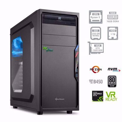 Fotografija izdelka PC PCPLUS Gamer Ryzen 5 3600 16GB 250GB NVMe SSD + 1TB GTX1660 6GB W10