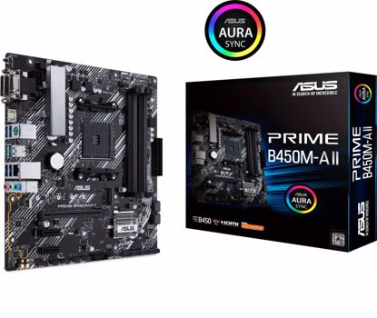 Fotografija izdelka ASUS PRIME B450M-A II, DDR4, SATA3, USB3.2Gen2, HDMI, AM4 mATX