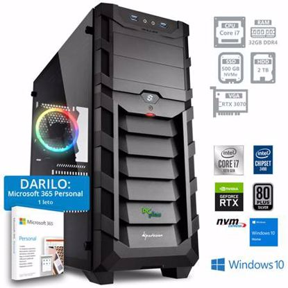 Fotografija izdelka PCPLUS Dream machine i7-10700F 32GB 500GB NVMe SSD 2TB HDD GeForce RTX 3070 8GB Windows 10 Home + darilo: 1 leto Microsoft 365 Personal