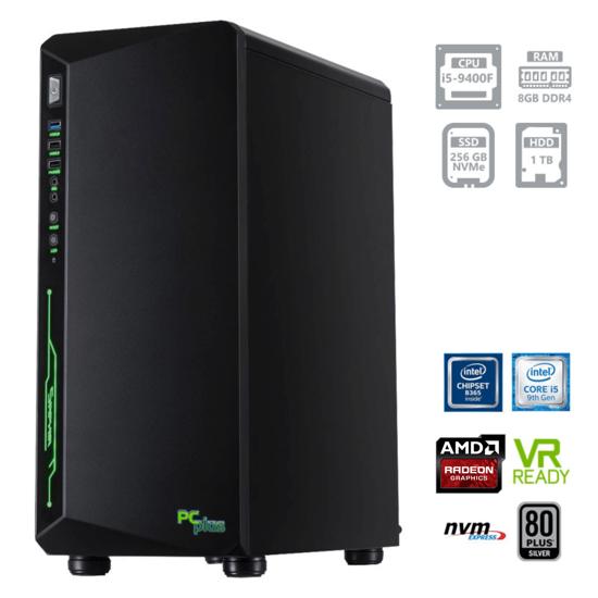 Fotografija izdelka PCPLUS Gamer i5-9400F 8GB 256GB NVMe SSD + 1TB HDD AMD RX5500 8GB OC W10PRO